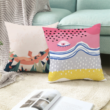 Fuwatacchi Abstract Tropical Plants Cushion Cover Artistic Palm Leaves Pillowcases for Home Sofa Decorative Pillow Cover 45x45cm fuwatacchi floral cushion cover feather leaves gold pillow cover for decor sofa chair square decorative pillowcases