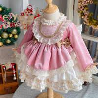Vestido Vintage de terciopelo rosa para niña, vestido de princesa Lolita con pompón español para cumpleaños y Navidad