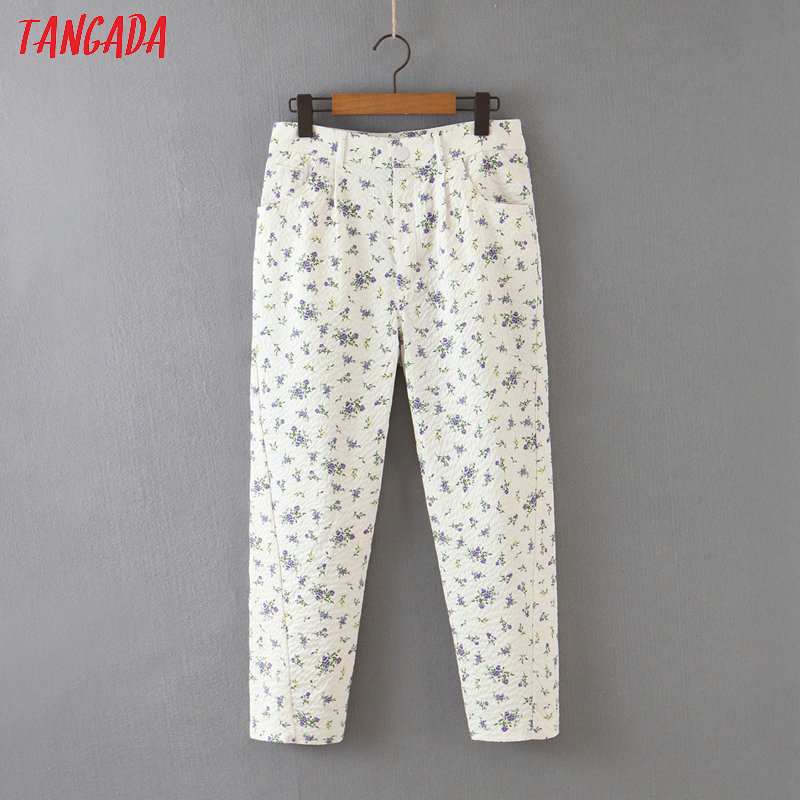 Tangada Fashion Women Casual Floral Print Pants Trousers Pockets Buttons Lady Pants Pantalon  QB101