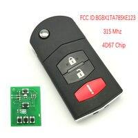 Datong mundo para mazda remoto chave fcc id bgbx1ta783ske123 4d63 chip 315 mhz controle remoto automático inteligente substituir a chave da aleta