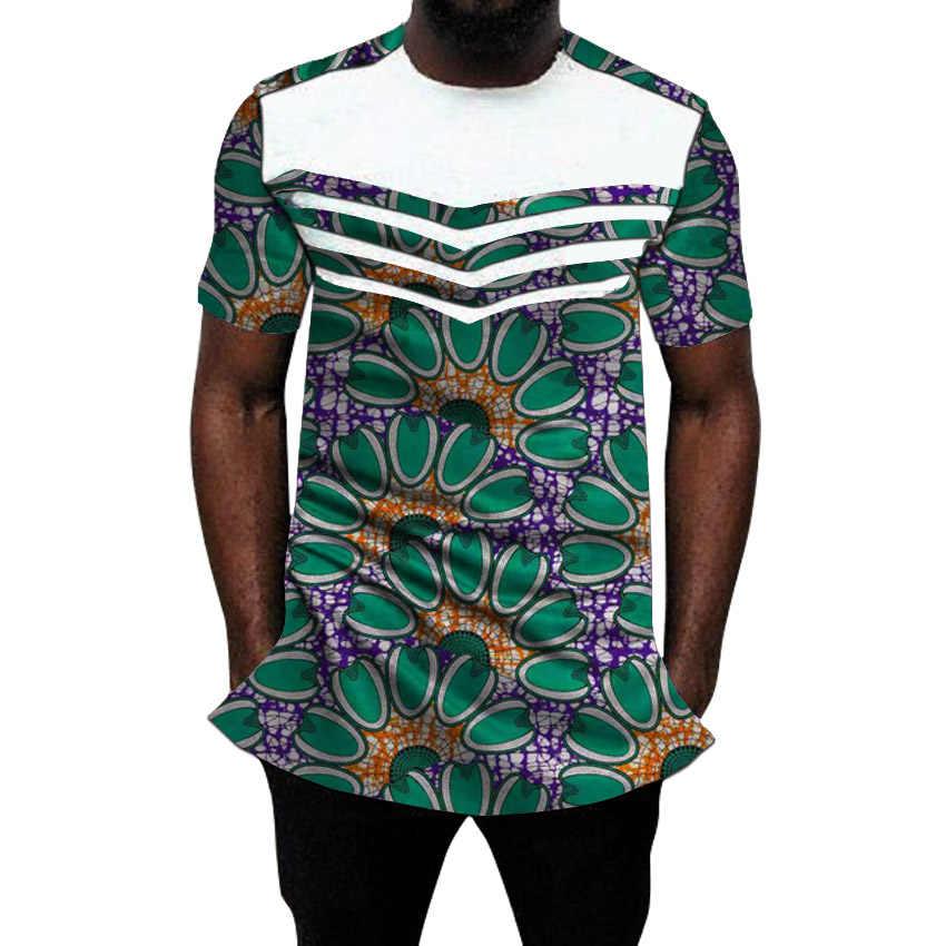 Afrykańskie koszule męskie moda patchwork topy letnia  ZBz7B