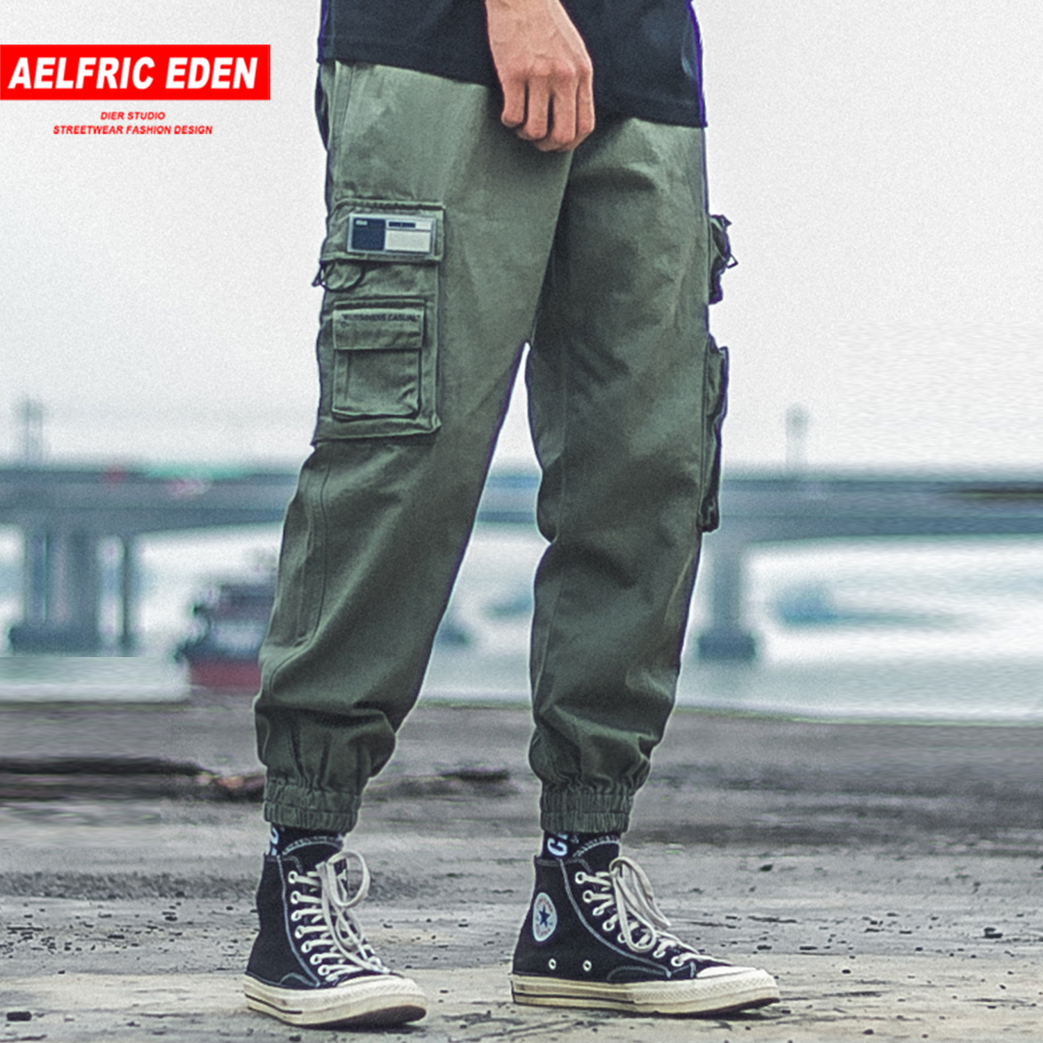 Aelfric Eden Patchwork Zipper Pockets Letter Printed Cargo Pants Mens Hip Hop Harajuku Streetwear Casual Male Trousers Joggers