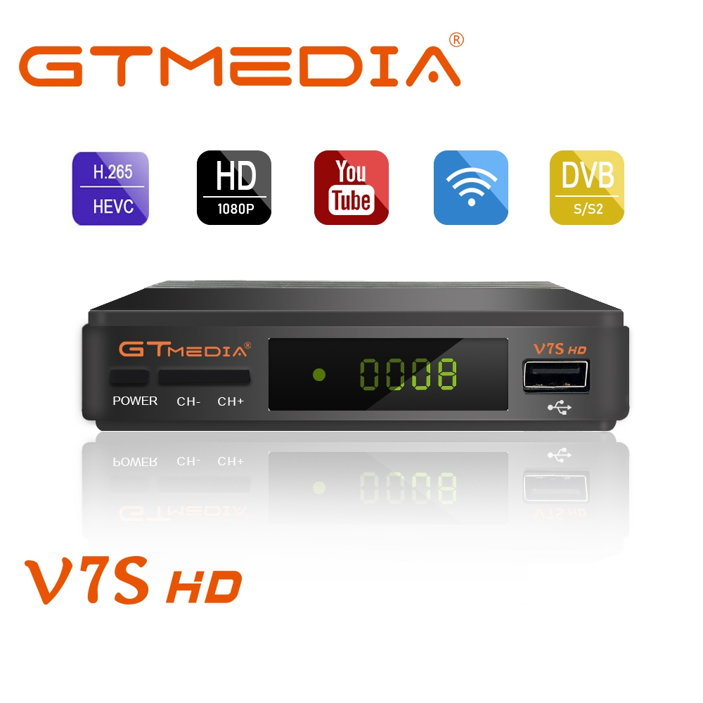 GTMEDIA DVB-S2 Freesat V7 Hd With USB WIFI FTA TV Receiver Gtmedia V7s Hd Power By Freesat Support Europe Cline Network Sharing