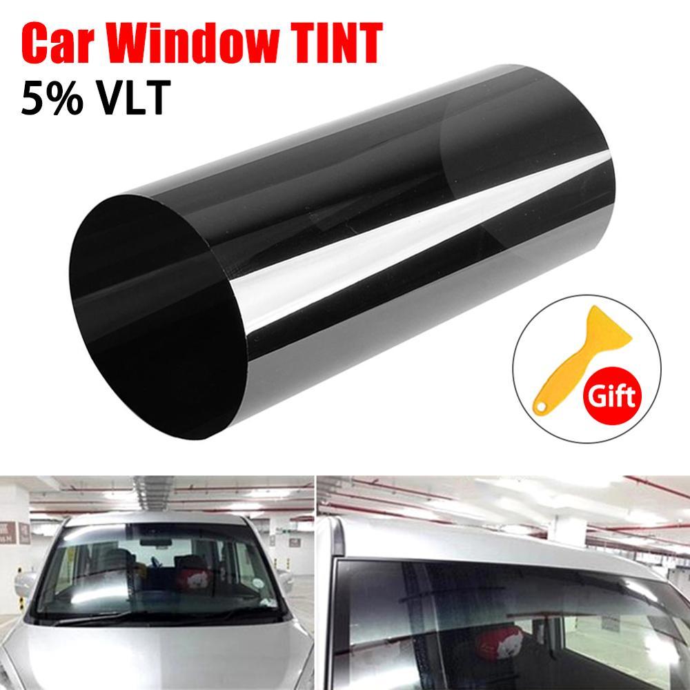 Film solaire 20x150CM pour pare-brise de voiture teinté en noir Film solaire transparent Protection Anti-UV pare-soleil teinte Film style de voiture