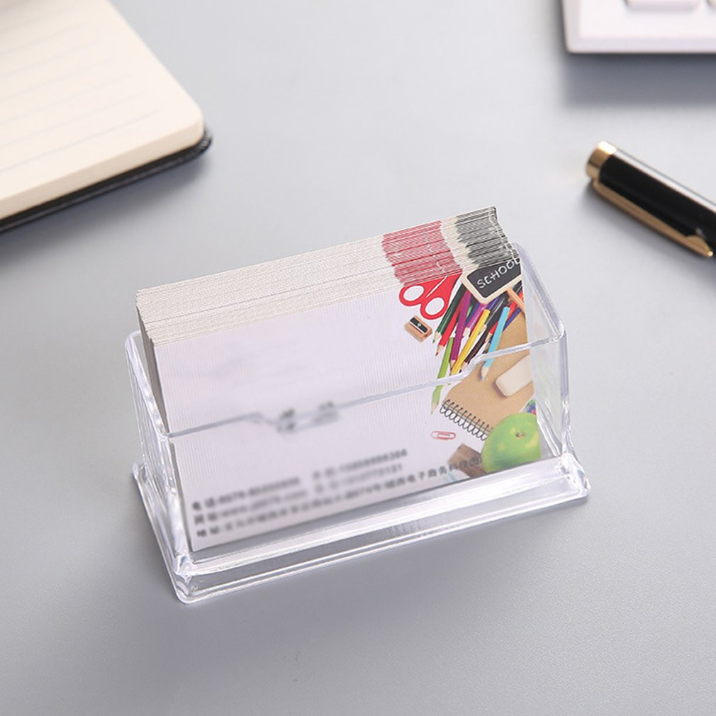 5pcs Portable Clear Business Card Desk Holder Display Stand Desk Desktop Countertop Business Card Holder Desk Shelf Box