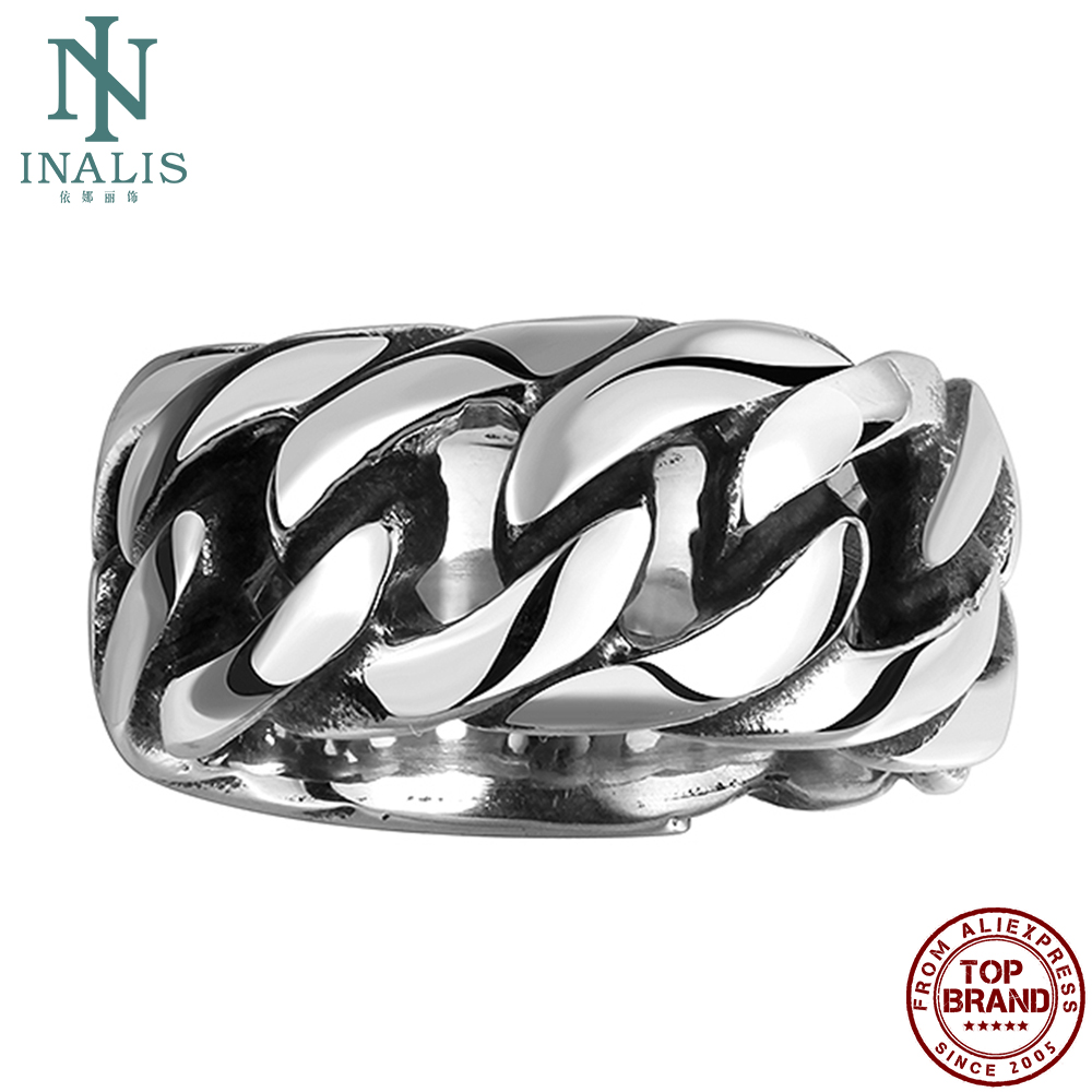 INALIS Rings For Men 316L Stainless Steel Round Personality Hollow Chain Bone Vintage Punk Ring Party Fashion Jewelry Recommend