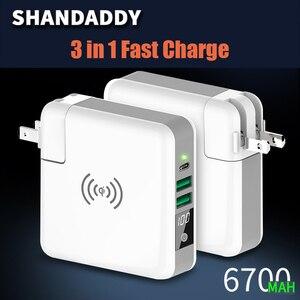 Image 2 - Multi funktion Drahtlose Ladegerät EU UNS UK AU Reise Stecker QI Wireless Charging Power Bank mit Digital Screen für IPhone 8 X Xs/r