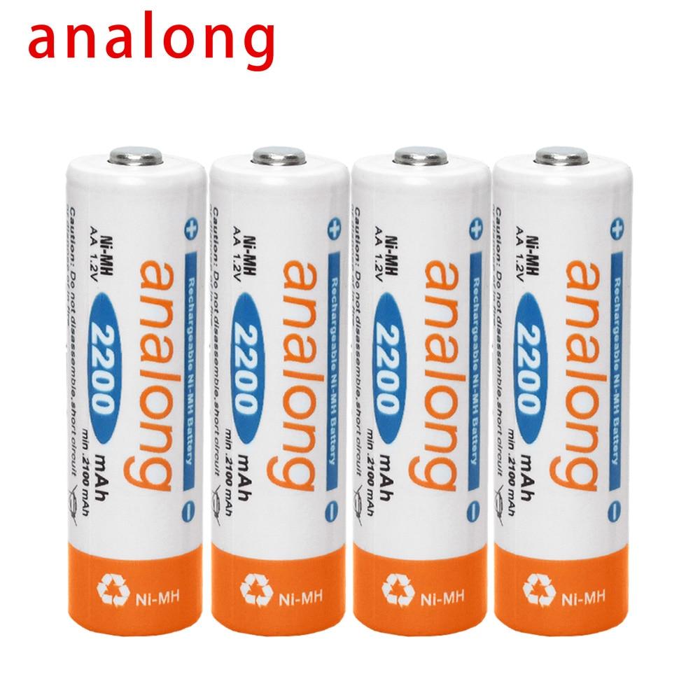 Baterias recarregáveis do aa da bateria 1.2 v aa de analong 2a baterias recarregáveis ni-mh pré-carregadas para a lanterna da câmera
