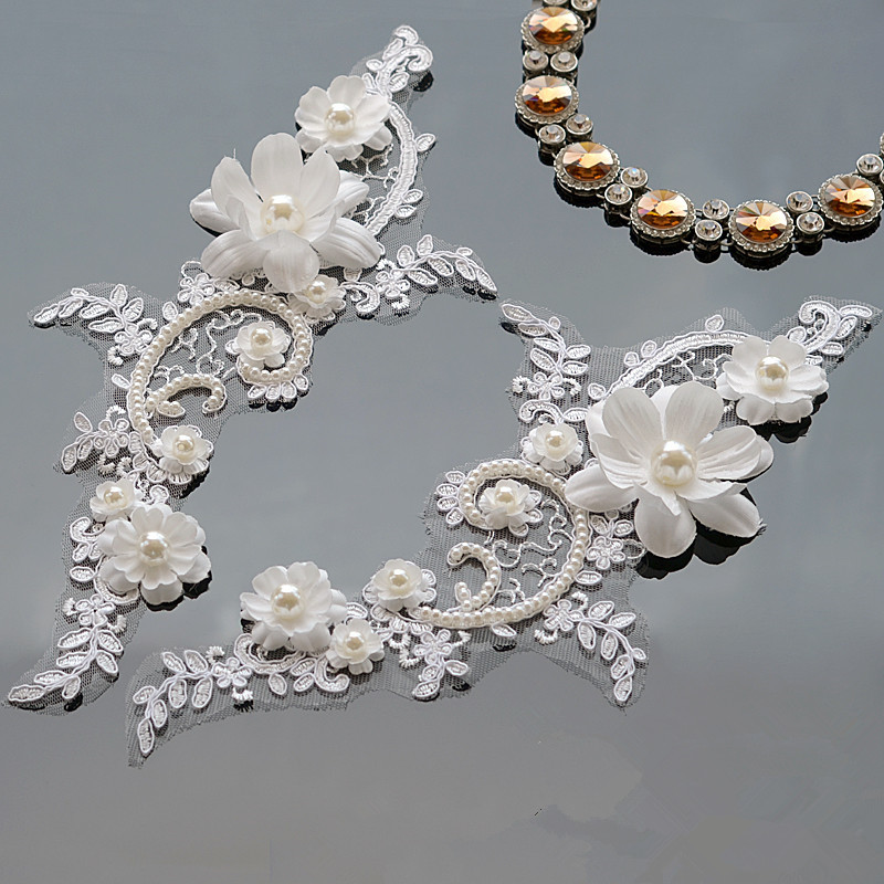 1pc Embroidery Lace Collar 3d Tulle Abric Trim Sequin Appliques For Wedding Dresses Neckline Patch Craft Diy Sewing Accessories Patches Aliexpress