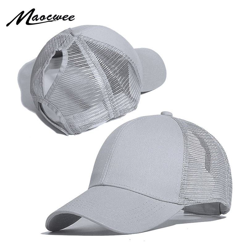 New Ponytail Baseball Cap For Women Men Summer Unisex Solid Color Mesh Breathable Baseball Cap Adjustable Outdoor Sports Sun Hat