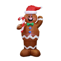 1.5m Christmas Inflatable Led Gingerbread Man Cookie With Led Lights Yard Airblown Decoration Fun Xmas Party Display