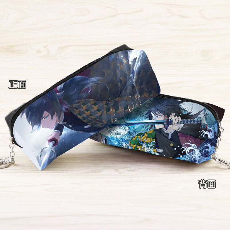 Anime Demon Slayer: Kimetsu No Yaiba Zipper Pencil Pouch Tomioka Giyuu Cartoon Character Cosmetic Bag