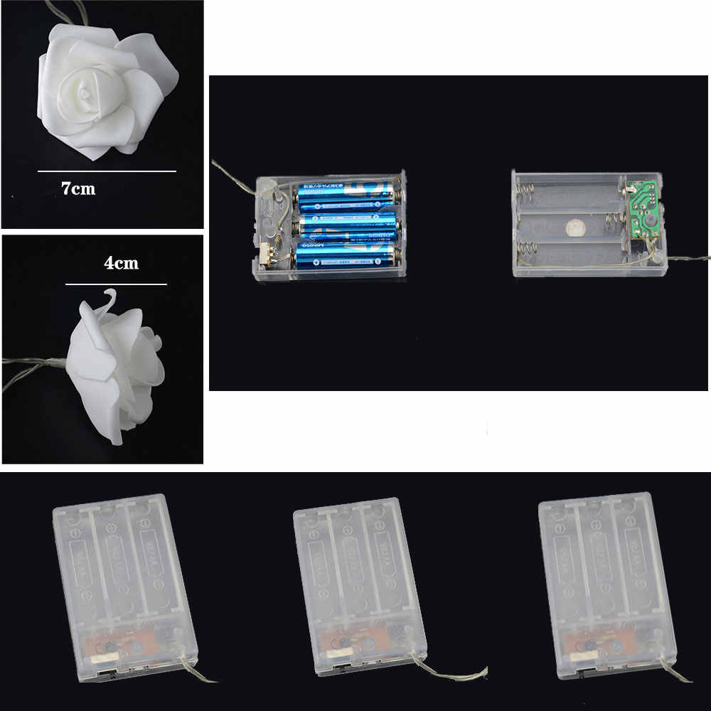 3V 1.5M 10 Đèn Led Pin AA Đèn Led Hoa Hồng Đèn Ngày Lễ Dây Đèn Trang Trí Đám Cưới Hoa Bóng Đèn LED