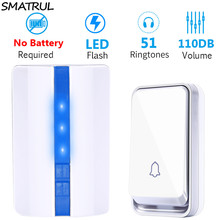 SMATRUL EU Plug Wireless Door Bell DoorBell  Waterproof Self Powered With No Battery Smart 1 Button 1 2 Receiver Door Ring Call
