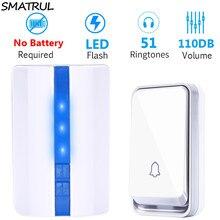 SMATRUL EU Plug sans fil porte sonnette sonnette étanche auto alimenté sans batterie Smart 1 bouton 1 2 récepteur porte anneau appel