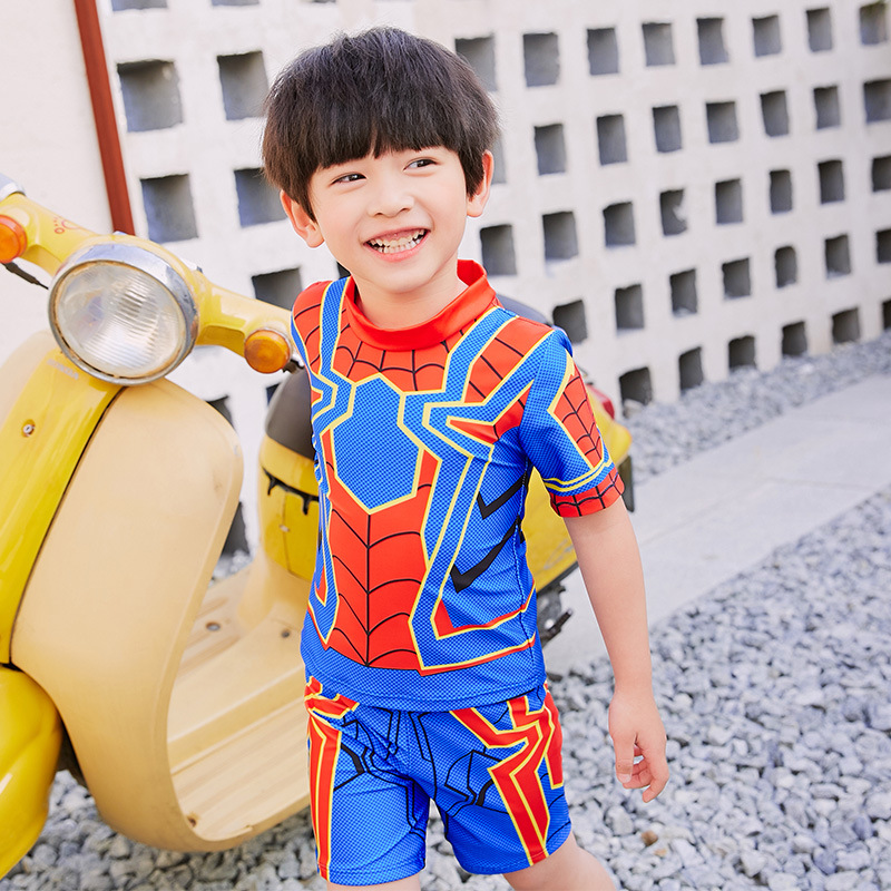 2019 BOY'S New Style CHILDREN'S Swimwear Boy Small CHILDREN'S Baby Split Type Short Sleeve Spider-Man One-piece Hot Springs Swim
