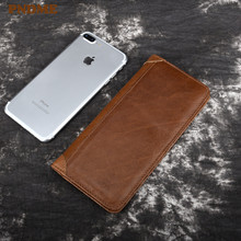 Simple vintage genuine leather men's long wallet business casual real oil wax cowhide multi-card ID credit card holder purse
