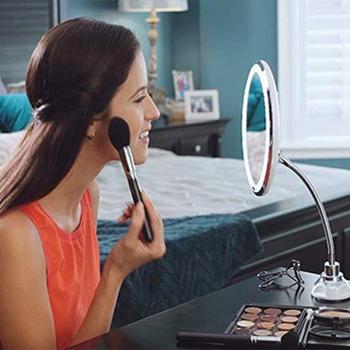 Costway LED lustro elastyczne lustro do makijażu z oświetleniem Led lustra 10X lustra powiększające światło kosmetyczne Miroir z przyssawką tanie i dobre opinie Wyposażone CN (pochodzenie) 19*19*7 5cm HA1197