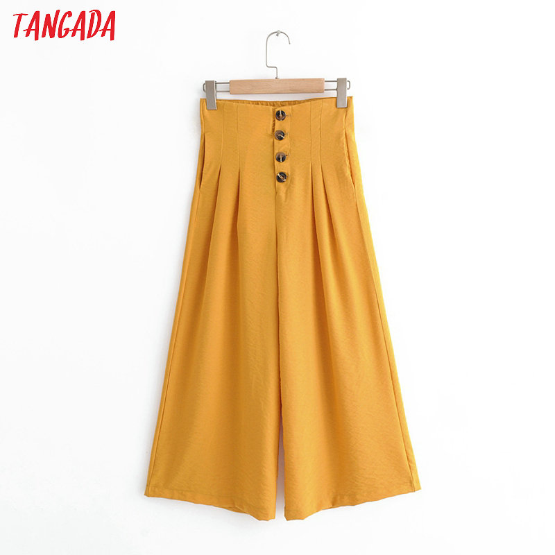 Tangada fashion women orange winde leg pants trousers with buttons pockets strehy waist office lady pants pantalon QJ48