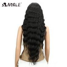 Благородный длинный черный парик глубокая волна высокого Температура волокна средней части 30 дюймов 150% высокая плотность Синтетические волосы на кружеве синтетические парики для Для женщин