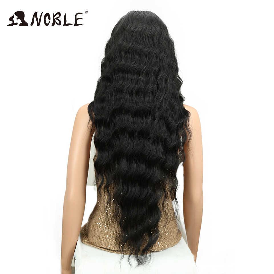 Peluca negra larga Noble onda profunda fibra de alta temperatura media parte 30 pulgadas 150% pelucas sintéticas frontales de encaje de alta densidad para mujeres