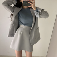 Women Skirt Suits Single breasted Blazer Jacket & A line Skirt Female Blazer Set Elegant 2 Pieces Set 2019 Women Blazer Suit