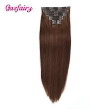Gazfairy/пряди для наращивания на заколках из искусственной кожи, человеческие волосы Remy на заколках, шелковистые прямые волосы, натуральный цвет, 20 дюймов, 22 клипсы, 160 г