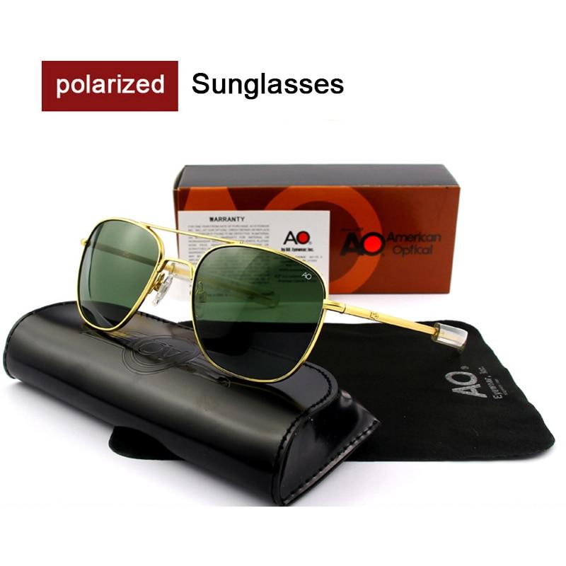 Alta qualidade ao óculos de sol lente polarizada masculino marca designer moda piloto óculos de sol dos homens do exército americano militar sol op5557