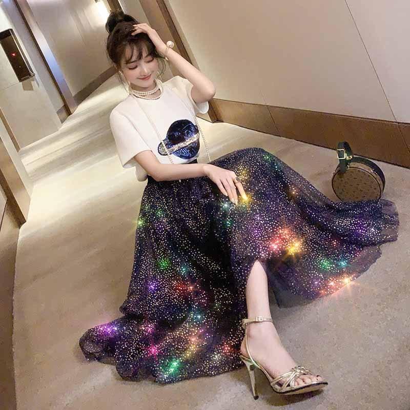 2019 Early Spring New Style Sequin Planet T-shirt + Goddess Elegant Mesh Skirt Long Skirts Very Fairy Of WOMEN'S Suit-