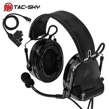 TAC-SKY COMTAC II silicone earmuffs hearing noise reduction pickup military tactical headset + U94 Kenwood plug PTT недорого