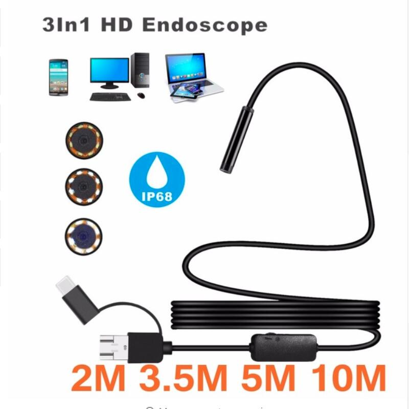 2/3.5/5/10M 720P IP67 Android 8MM Micro USB Type-c USB 3-in-1 Computer Endoscope Borescope Tube Waterproof USB Inspection Video