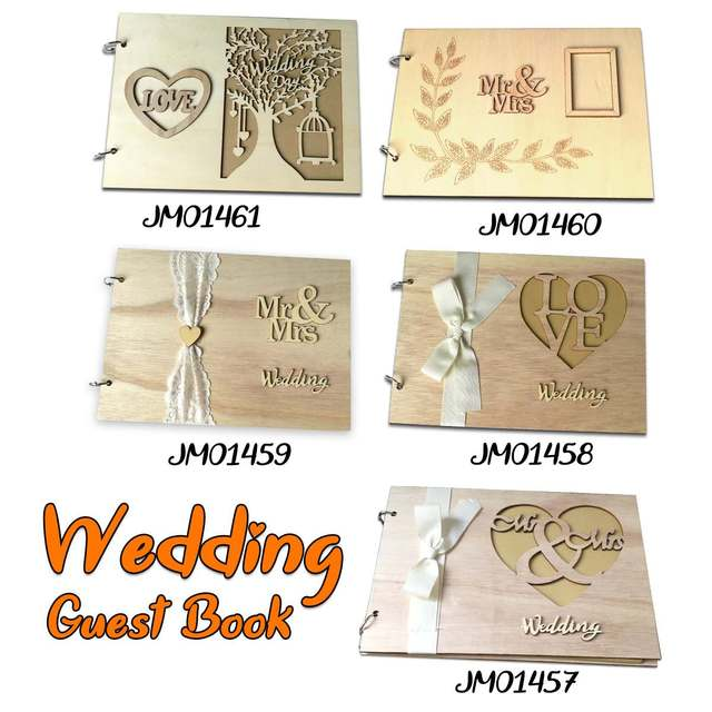5 Style 28x20x1.6cm Wedding Guest Message Book Personalised Wooden DIY Photo Book Sign Guest Love Couple Lace Decorate P20