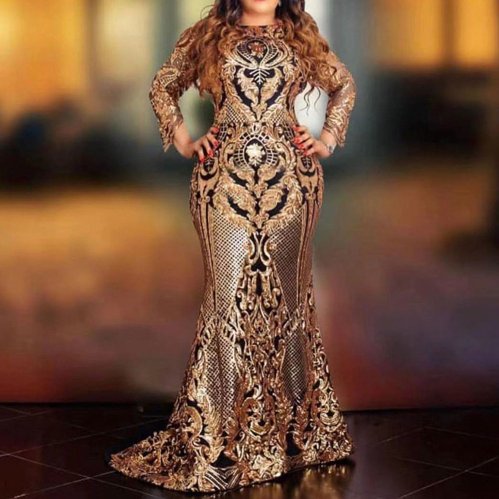 African Ladies Sequins Party Dress