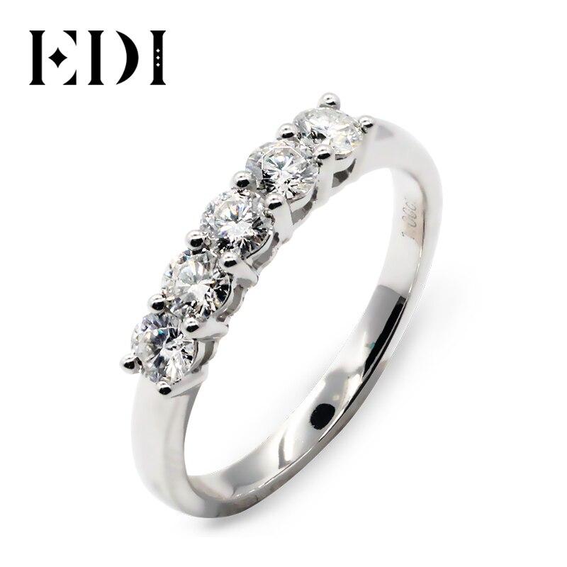 Us 13846 14 Offedi 5 Stein Diamant Hochzeit Ring 9k White Gold Runde Simuliert Diamant Engagement Hochzeit Passenden Band Für Frauen Klassische In