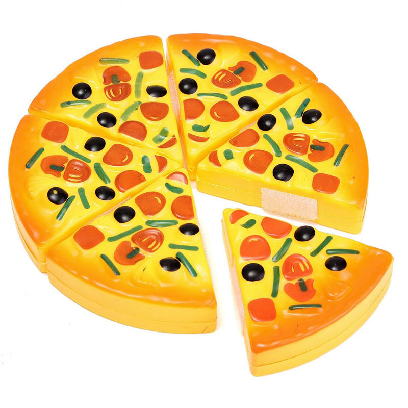 6PCS Childrens Kids Funny Toy Pizza Slices Toppings Pretend Dinner Kitchen Play Food Toys Kids Christmas Birthday Gift