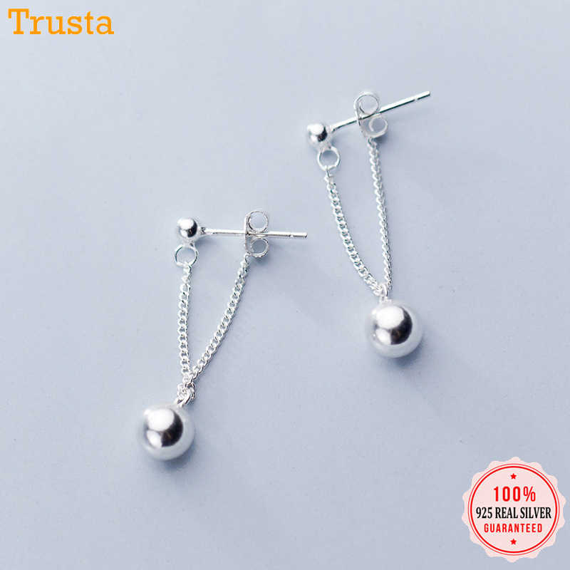 Trustdavis 100% 925 Sterling Silver Chain Smooth Surface Beads Stud Earrings for Women Girls Kids Silver 925 Jewelry Gift DT54