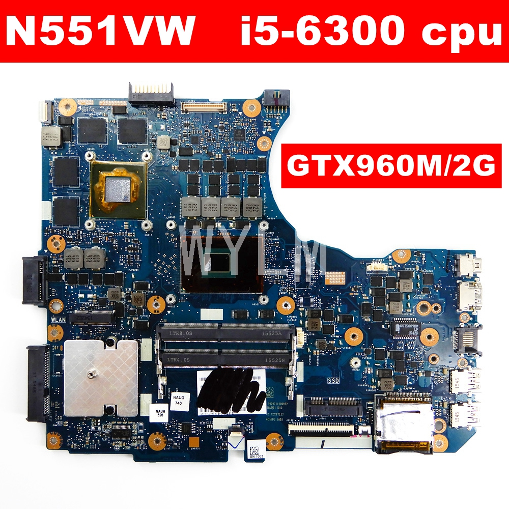 N551VW i5-6300HQ CPU GTX960M 2GB Mainboar For <font><b>Asus</b></font> <font><b>N551V</b></font> G551V FX551V G551VW FX51VW N551VW FX51VW Laptop Motherboard 100% Tested image