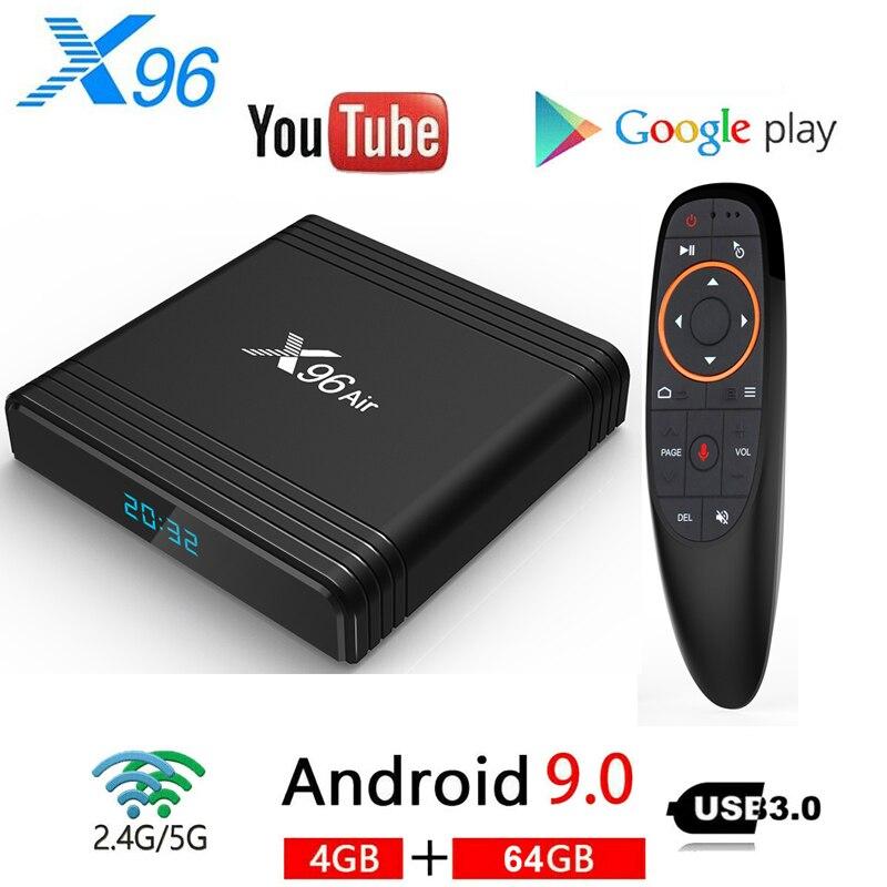 X96 ar amlogic s905x3 mini android 9.0 smart tv box 4gb 64gb 32gb 2.4 & 5ghz wifi 4k 8k 24fps x96air 2gb 16gb conjunto caixa superior