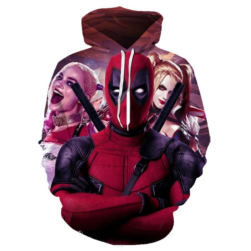 2019 New Hot Funny Hoodies Badass Deadpool Cool Street Mens Clothing Hoodies Deadpool Hoodie 3D Printed Long Sleeve Hoodies Tops