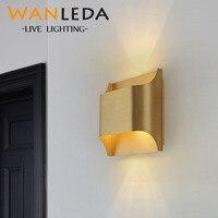 Modern parlaklık bakır duvar lambası bronz yatak odası kapalı led duvar ışıkları fikstür oturma odası duvar lambası koridor duvar aplik