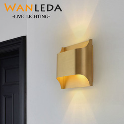 Nowoczesna lampa ścienna z miedzi Lustre brązowa sypialnia kryty Led kinkiety oprawy salon ściana światło na ścianę w korytarzu kinkiet