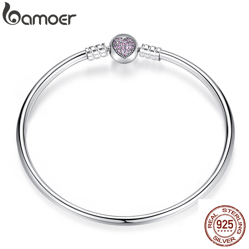 BAMOER Authentic 100% 925 Sterling Silver Snake Chain Heart Bangle & Bracelet Luxury Jewelry PAS904(China)