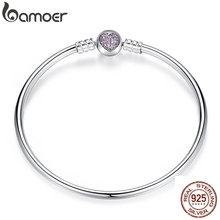 Bamoer Authentieke 100% 925 Sterling Silver Snake Chain Hart Armband & Armband Luxe Sieraden PAS904