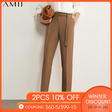 Amii Minimalism Autumn Women's Pants OLstyle Suit Pants Causal Solid High Waist Straight Women Trousers Female Pants 12030406