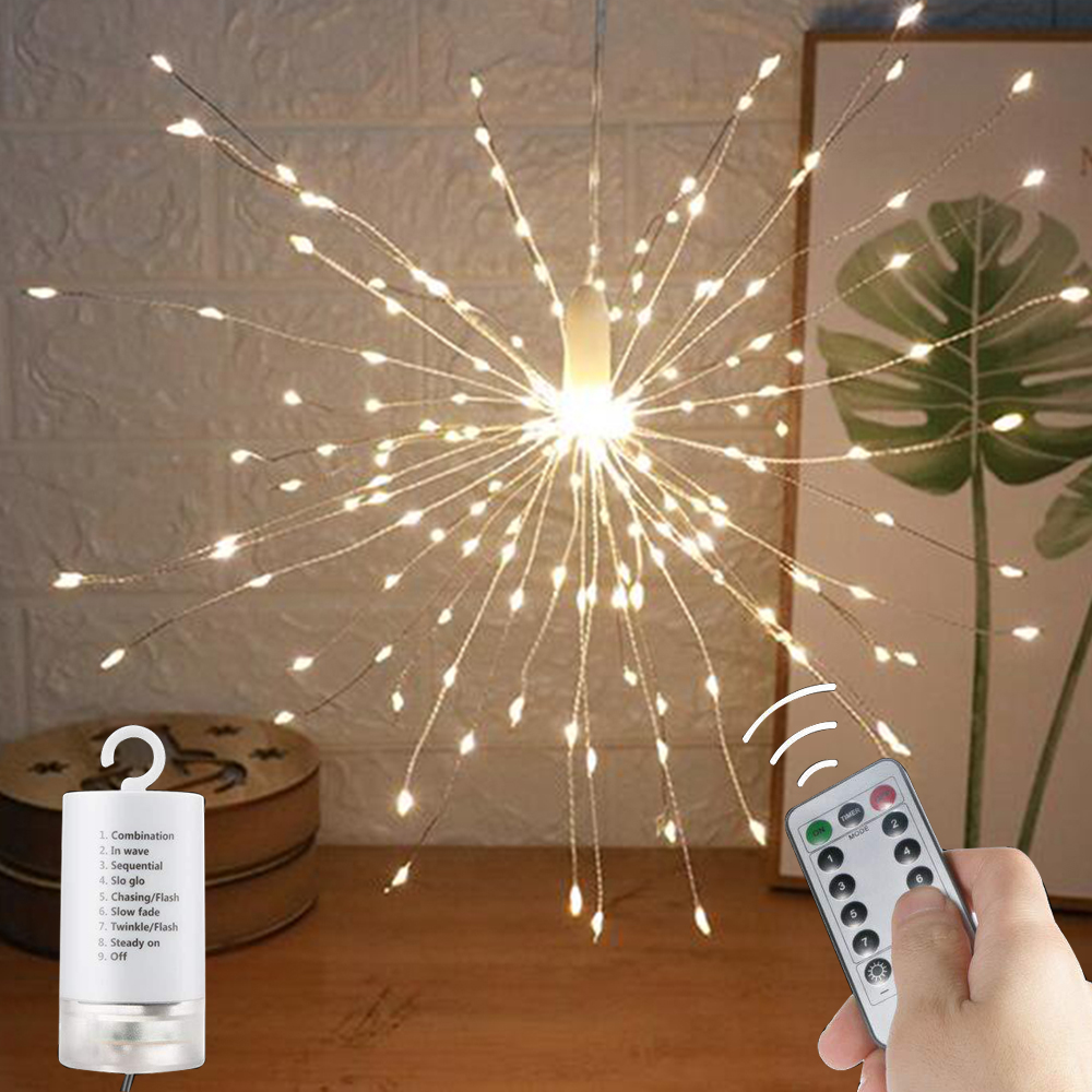 Firework Lamp Led Fairy Copper Wire Lantern String Lights String Star Light Outdoor Waterproof Romantic Decorative Hanging Lamp