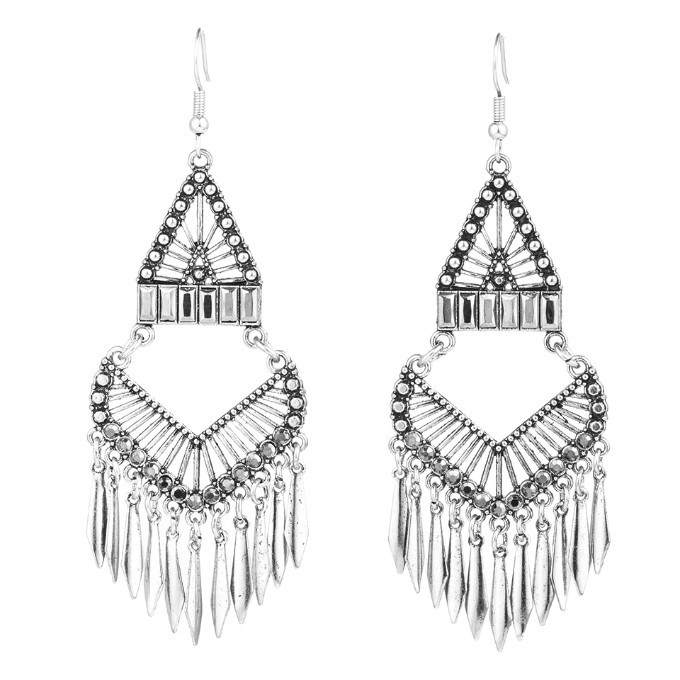 Luxury Boho Ethnic Antique Silver Color Statement Tassel Dangle Drop Earrings for Women Female Fashion 2019 Jewelry Accessories