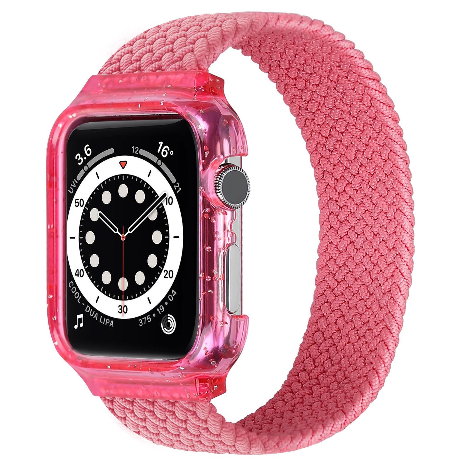 Iwatch caso integrado único laço trançado pulseira elástica laço de náilon para applewatch cinta série 6/se/5/4 40/44mm
