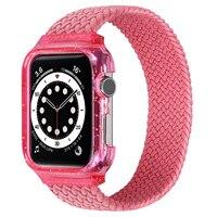 IWatch-funda de reloj integrada de un solo bucle, trenzada correa de reloj, lazo de nailon elástico para Apple Watch series 6/SE/5/4 40/44mm