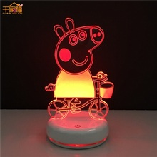 Peppa Pig George 3D Illuminated Lights Toys Characters Action Model Decoration Lighting Children Room Decorations toys Gift
