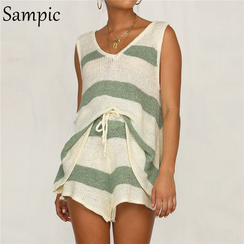 Sampic V Neck Summer Khaki Knitted Drawstring 2 Piece Women Set Casual Beach Striped Two Piece Set Crop Top And Shorts Outfits